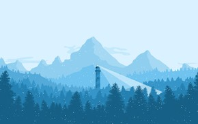 Wallpaper cold, winter, forest, the sky, light, snow, trees, mountains, blue, blue, lighthouse, tree, ate, frost, ...