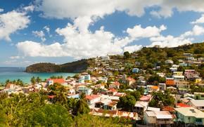 Picture sea, the sky, the sun, clouds, trees, coast, home, horizon, Saint Lucia, The Canary Islands