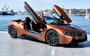 Wallpaper Roadster, side view, harbour, 2018, BMW i8