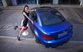 Picture look, Girls, BMW, dress, chair, Asian, beautiful girl, blue auto