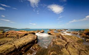 Picture sea, stones, coast, horizon