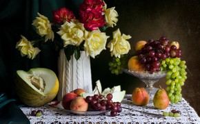 Picture roses, grapes, pear, fruit, still life, peach, melon