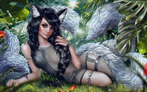 Picture Girl, Elf, Art, League of Legends, Ahri, Nine-Tailed Fox