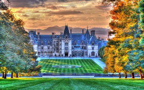 Picture autumn, the sun, clouds, trees, mountains, design, lawn, HDR, Chicago, USA, Il, Palace, Chicago Cultural …