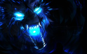 Picture face, wolf, predator, mouth, fangs, evil, horror, blue flame, mater