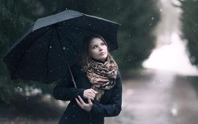 Picture girl, snow, umbrella, scarf, coat
