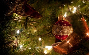 Picture holiday, toys, star, new year, ball, Christmas, tape, tree, decoration, light bulb