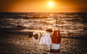 Picture sea, sunset, wine, glasses, sea, sunset, wine, wedding, wedding, wineglass