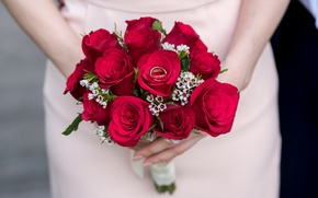 Picture engagement, roses, ring, red, bouquet, wedding, flowers