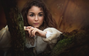 Picture look, girl, face, tree, mood, texture, hands