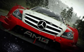 Picture car, Mercedes, game, rain, AMG, red and white, the crew, circuit