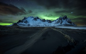 Picture mountains, night, Northern lights, Iceland, Have stokksnes