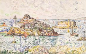 Picture rock, boat, figure, mountain, watercolor, Fort, Paul Signac, Morlaix. The entrance to the River