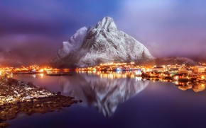 Wallpaper rocks, Norway, haze, town, the evening, lights, the village, the fjord, winter, fog, reflection, mountains, ...