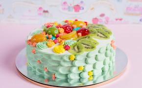 Picture kiwi, cake, decoration, cream, fruit, sweet, cakes, sweets
