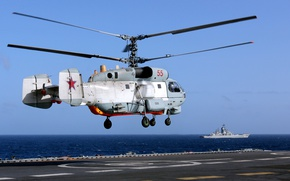 Wallpaper takes off, cruiser, from the deck, The Ka-27 Helicopter, Admiral Kuznetsov, heavy, aircraft carrier