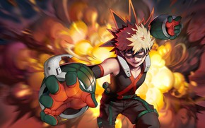 Wallpaper fire, hero, guy, Boku no Hero Academy, My hero Academy, Bakusou Katsuki