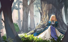 Picture forest, girl, knight, the saber, Fate / Stay Night