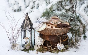 Picture winter, snow, decoration, tea, toys, tree, chocolate, New Year, Christmas, Cup, happy, Christmas, vintage, winter, …