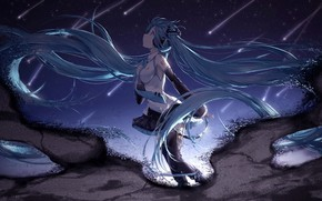Picture night, anime, girl, Vocaloid, Hatsune Miku