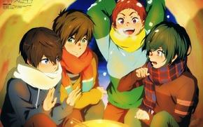 Picture cold, snow, fire, scarf, friends, free, nanase haruka, tachibana makoto, freestyle, asahi shi has, iku …