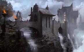 Wallpaper mountains, birds, castle, waterfall, Lost City