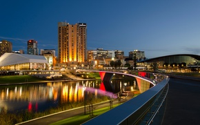 Picture bridge, lights, river, building, home, the evening, Australia, Adelaide