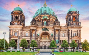 Picture trees, lawn, HDR, Germany, temple, architecture, the sidewalk, Palace, dome, Berlin, Berlin Cathedral