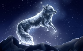 Picture snow, night, wolf, by SnoSwirl