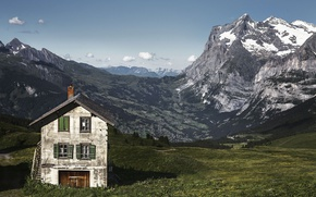 Picture mountains, nature, house