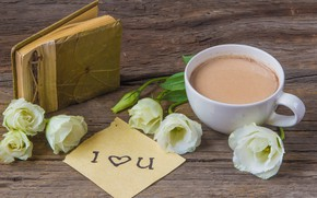 Picture flowers, album, Cup, attention, hot chocolate, eustoma