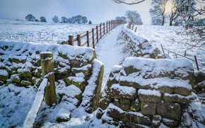 Picture winter, field, the sun, snow, trees, stones, the fence, UK, Yorkshire