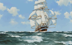 Picture sea, sailboat, James Brereton, white sails