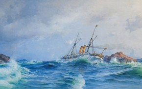 Picture artist, watercolor, painting, wave bursts, Herman Gustav Sillen., pencil, Navy, battleship, the ocean, gouache, rock ...