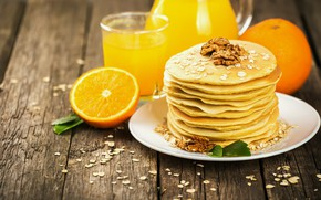 Picture Breakfast, juice, Orange, pancakes, wood, fruit, orange, Nuts, pancake