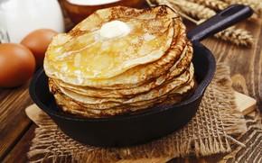 Wallpaper oil, eggs, pancakes, pan