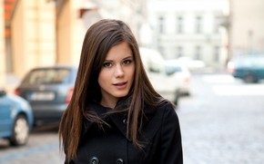 Picture girl, long hair, brown eyes, photo, model, lips, face, coat, brunette, Caprice, Little Caprice, portrait, …