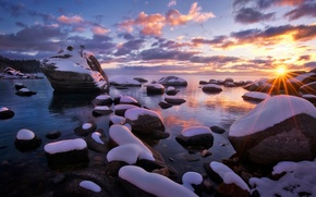 Picture winter, the sun, rays, light, snow, nature, stones, USA, lake Tahoe