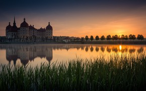 Picture sunset, castle, Germany, pond