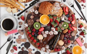 Picture berries, coffee, orange, chocolate, kiwi, cookies, strawberry, grapes, fruit, luxury, waffles, pills, bun, blueberries, cuts, …
