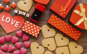 Picture love, box, heart, cookies, ring, gifts, Valentine's Day