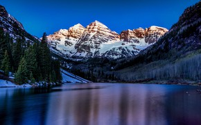 Picture rock, forest, twilight, river, sky, trees, landscape, nature, sunset, water, snow, evening, Mountains, peaks