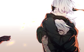 Picture hand, hugs, red eyes, black suit, a pair of lovers, yorha unit no. 2 type …