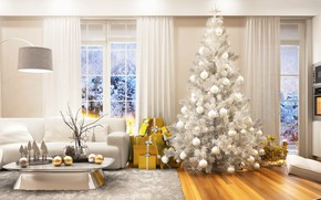 Picture winter, holiday, tree, new year, Christmas, interior, Christmas, New Year, decor, xmas