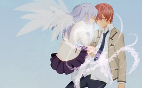 Picture art, two, Angel Beats!, Angel beats