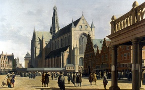 Picture picture, the urban landscape, Gerrit Adriaenszoon Berckheyde, Gerrit Adriaenszoon Berckheyde, The market square with the …