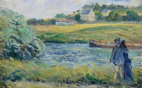 Picture landscape, picture, Camille Pissarro, Walk on the Water. PONTOISE