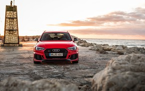 Wallpaper front view, RS4, Before, 2018, Audi, coast