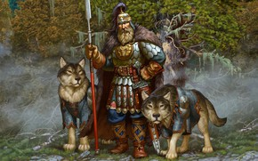 Picture weapons, dog, armor, Forest, warrior, hero