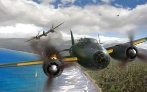 Wallpaper heavy fighter, G4M, bomber, Mitsubishi, painting, Lockheed, P-38 Lightning